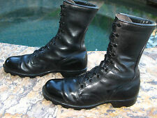 Vintage 1985 Era US Military Combat Boots High Top Black Leather Sz 9