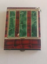 Art Deco slim chrome enamel powder compact cigarette case combination