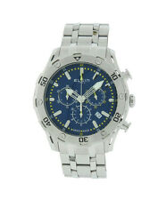 Elgin 1863 52104.3 Men's Blue Swiss Made Chronograph Date Stainless Steel Watch