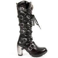 NEW ROCK 373-S3 Ladies Black 100% Leather Goth Punk Emo Rock Biker Boots
