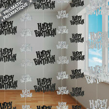 6 Happy Birthday Black Sparkle Prismatic 5ft String Party Decorations