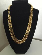 "20"" 15mm Chain 18K Gold Plated Hip Hop Chunky Necklace Unisex Xmas Birthday Gift"