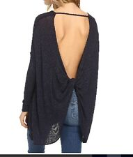 Free People New Shadow Hacci Top Shirt Pullover NWT Navy size S