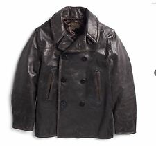 $2200 RRL Ralph Lauren Kentner Italian Calfskin Leather Pea Coat Jacket- MEN- L