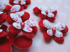 40 Big Padded Felt/Printed Butterfly Appliques -Red AB001