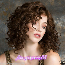New Fashion Ladies Brown Curly Women Natural Hair Wigs + wig cap