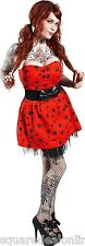 77568 Red Spiders Tangled Web Dress Halloween Sourpuss Strapless Goth Large L