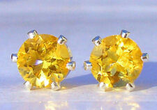 NEW Sterling Silver EARRINGS 6mm 1ct each Bright Golden Yellow BRAZILIAN CITRINE
