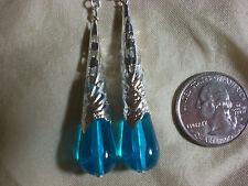 Blue Victorian Tear Drop Earrings