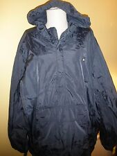 Old Navy Surplus System XL navy blue rain jacket hood zips