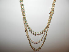 ANTHROPOLOGIE NECKLACE MULTI STRANDS GREEN STONES GOLD TONE CHAINS NEW #1570