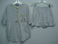 Nancy King Lingerie 2 Piece Pajama Shorts & Top Set Size XL Grey w/ Yellow #559N
