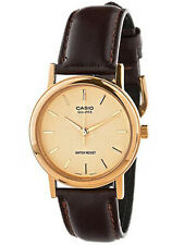 Casio Men's Quartz Gold Tone Stainless Steel Brown Leather Watch MTP1095Q-9A
