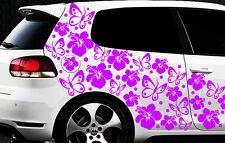 122-parties Kit Autocollants Pour Voiture Hibiscus Fleurs Papillons Hawaï