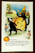 Black Cat Witch & Big Bass Drum Dressed Mice HALLOWEEN Whitney Fantasy Postcard