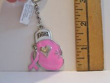 NEW Stunning Breast Cancer PINK BOXING GLOVE FIGHT WITH RIBBON CHARM KEYCHAIN