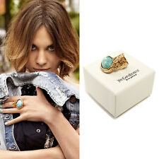 YVES SAINT LAURENT YSL 'Arty Ovale' oval turquoise stone gold-plated ring sz. 5