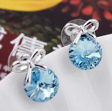 Fashion Women Ladys Jewelry Blue Rhinestone Crystal Ear Stud Earrings Charm Gift