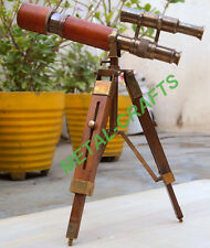 British Antique Brass Telescope Leather Wrap Double Barrel With Tripod Victorian