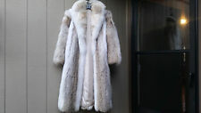 Absolutely stunning natural Coyote Arctic Fox trim full lenght fur coat M