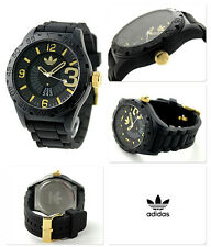 NEW ADIDAS NEWBURGH BLACK+GOLD TONE,BLACK SILICONE BAND DIGITAL WATCH ADH3011