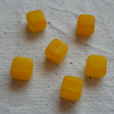Czech Glass Beads ~ 30 x 6mmYellow Cube Beads
