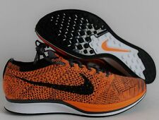 NIKE MEN FLYKNIT RACER TOTAL ORANGE-WHITE-GREY SZ 7//WOMEN SZ 8.5 [526628-8