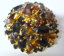 Juliana Round Conical Brooch Pin Topaz Amber Rhinestones LOVELY