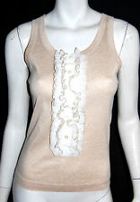DOLCE & GABBANA Ruffle Detail Beige Sleeveless Knit Top 42