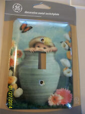 BABY in a Vase Butterfly flowers Decorative Switch Plate cover  Metal NEW GE