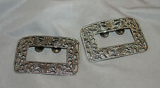 Vintage 1960's Pair of Signed Musi Silvertone Filigree Shoe Buckles Clips