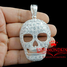 ICED OUT SOLID STERLING SILVER SKULL GHOST CHARM PENDANT 14K WHITE GOLD FINISH