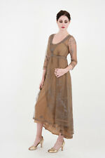 DOWNTON ABBEY-Nataya-Anique Silver Embroidered VICTORIAN Dress-S,M, or L or XL