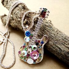 Fashion Gold-plating Guitar pendant Crystal Necklace Sweater chain LL170