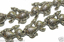 FISH BEADS 2 METAL PEWTER SILVER PLATED BEAD LARGE FISH 35X25MM LARGE HOLE