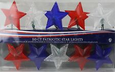 4th of July 10 Red White & Blue Patriotic Star Lights Set Indoor/Outdoor 8 Ft