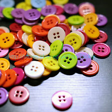 100 PCS 15mm RESIN ROUND BUTTONS MIXED COLOURS CRAFT SCRAPBOOK 4 HOLES