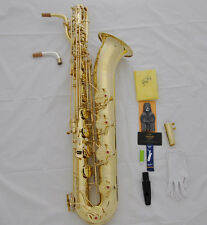 Professional Taishan Brass Unlacquer Baritone Saxophone Eb Sax Low A with case