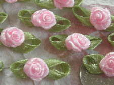 100! Satin Ribbon Roses With Leaves - Lovely Pale Pink Rose Embellishments!
