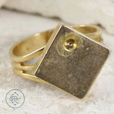 Gold Plated - Square Top 6.6g - Ring (7) Mens AO8249