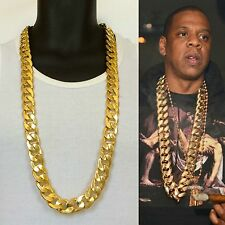 SOLID HEAVY 14K YELLOW GOLD FINISH 21mm 38 INCHES RAPPERS MIAMI CUBAN LINK CHAIN