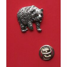 English Pewter BEAR Pin Badge Tie Pin / Lapel Badge (XTSBPA28)