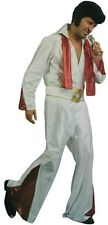 Adult Mens Rock Star Elvis Vegas White Suit Music King Halloween Costume Set New