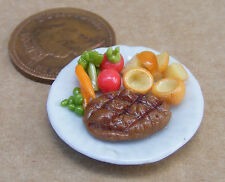 1:12 piccole ARROSTO CARNE & Yorkshire su una 2,5 cm piatto in ceramica DOLLS HOUSE miniatura