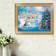 Winter Christmas Night Play Embroidery 5D Diamond DIY Painting Cross Stitch HOT