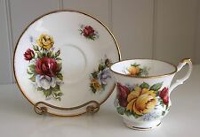 Rosina Queen's Yellow Red White Blossoming Roses Footed Cup & Saucer FBC England
