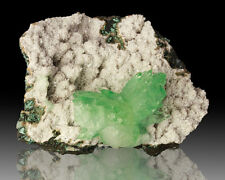 "2.9"" Bright Shiny GREEN APOPHYLLITE Crystal Group on Heulandite India for sale"