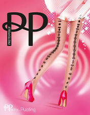 New Pretty Polly Fashion Tights PUZZLING Pantyhose One size regular NUDE BLACK