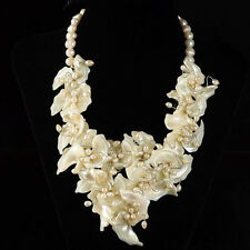 s11736 Mother of pearl MOP shell pearl flower fashion necklace 19""