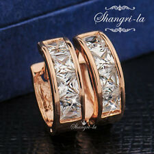 SOLID 18K 18CT Rose GOLD GF Princess Cut Created DIAMOND Huggie EARRINGS EA489